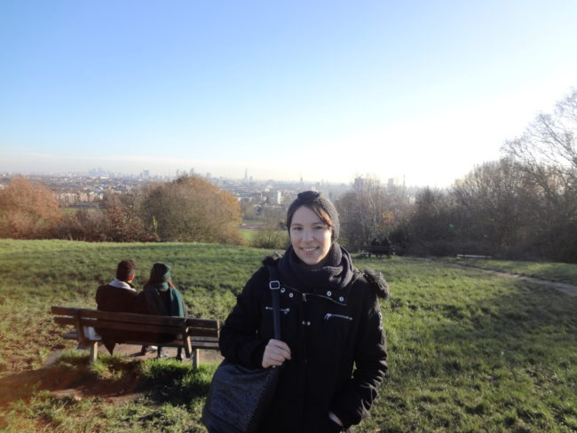 Me at the original setting of 'Notes on a Scandal', complete with couple on the bench and great views over London! © Sonja Irani / filmfantravel.com