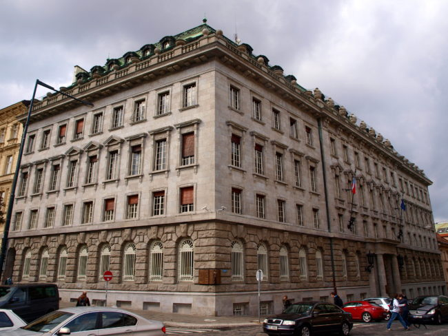 Petschek Palace in Prague, one of the Jojo Rabbit film locations.  Photo: Wikipedia Commons. © By VitVit - Own work, CC BY-SA 3.0